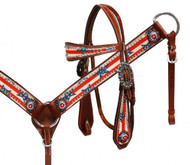 Showman ® Stars & Stripes headstall and breast collar set.