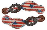 Showman ® Ladies Size Leather Spur Straps with stars and stripes print.
