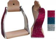 Showman ® Lightweight twisted angled aluminum stirrups with crystal rhinestones.