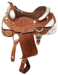 "16"" Fully tooled Double T show saddle."