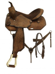 "16"" Barrel style saddle set with tooled rough out leather."