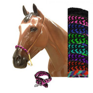 Showman® Braided nylon rope noseband and nylon tie down.