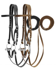Showman ® Horse Size nylon headstall with snaffle bit.