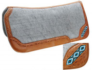 "Showman ® 32"" x 32"" Contoured felt bottom saddle pad with beaded inlay."