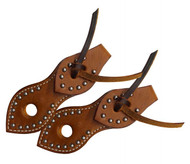Showman ® Silver studded leather slobber straps.