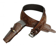 Showman ® 22 Caliber Dark oil tooled leather Western gun holster and belt.