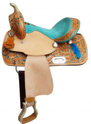 "13"" Double T  Youth saddle with feather accents."