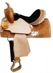 "13"" Double T  Youth saddle with buck stitch trim."