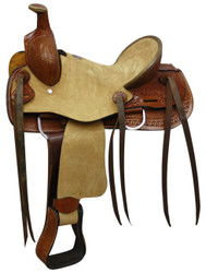 "12"" Double T Youth hard seat roper style saddle."