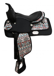 "12"" Synthetic saddle with Navajo print."