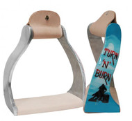 "Showman ® Lightweight twisted angled aluminum stirrups with painted ""Turn 'N' Burn"" design."