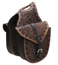 Showman ® Floral and basket weave tooled leather horn bag.