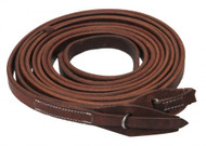 "Showman ® 8ft X 3/4"" Oiled harness leather split reins with quick change bit loops. Made in America."