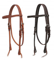Showman ® Argentina cow leather headstall with barbed wire tooling.