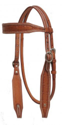 Showman ® Argentina cow leather headstall w/barbed wire tooling.