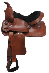 """12"""" Economy Pony/Youth saddle with barbed wire design."""