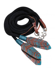 Showman ® 8ft round braided nylon split reins with teal painted feather popper.