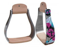 Showman ® Holographic cross & feather print stirrup.