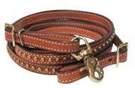 "Showman ® 1/2"" x 8ft cow leather brass studded contest rein."