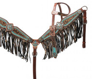 Showman® Bejeweled metallic leopard print headstall and breast collar set.