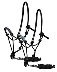 Showman ® Beaded nose cowboy knot rope halter with 7' lead.