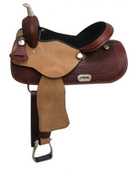 "16"" Economy style western saddle with basket weave tooling."