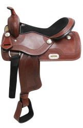 "16"" Economy style western saddle with basket weave tooling"