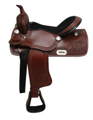 "16"" Economy style western saddle with floral tooling."