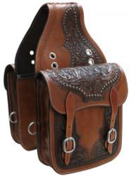 Showman ® Tooled leather saddle bag.