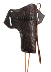 Showman ® 22 Caliber dark oil gun holster with basket and floral tooling.