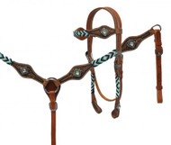 Showman ® Medium leather headstall and breast collar with beaded overlays.