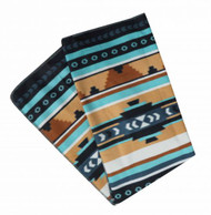 "50"" x 60"" Teal and brown Navajo design fleece throw blanket."