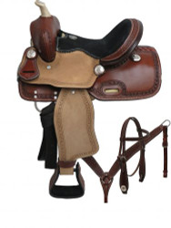 "12"" Double T pony saddle set with tooled border."