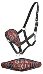 "Showman® "" Never give Up"" hand painted copper bronc nose halter."