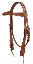 Showman ® Argentina cow leather headstall with floral tooled accents.