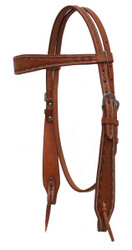 Showman ® Argentina cow leather headstall with barbed wire tooled accents.
