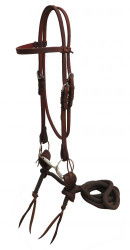 Showman ® Headstall made of American oiled harness leather with O-ring snaffle bit and slobber strap nylon reins.