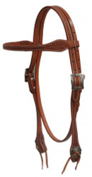 Showman ® Argentina cow leather browband headstall with basket weave tooling.