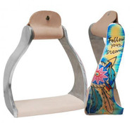 "Showman ® Lightweight twisted angled aluminum stirrups with painted ""Follow your dreams"" design."