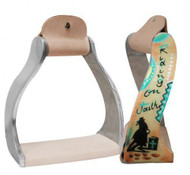 "Showman ® Lightweight twisted angled aluminum stirrups with painted ""Riding on Faith"" design."