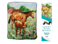 "Showman Couture ™ Luxury plush blanket with mare and foal print. Queen Size 76"" x 93"""