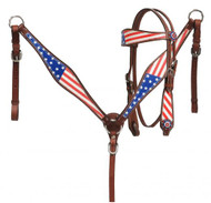 Showman ® Pony Size  American flag headstall and breast collar set.