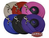 Showman ®  25' flat cotton web lunge line with brass snap. Reinforced stitching and rubber hand stopper at the end.