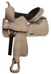 "13""  Pony / Youth Rough Out Leather Saddle. * Full QH Bars*"