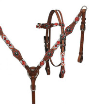 Showman ®  Red and white beaded headstall and breast collar set.