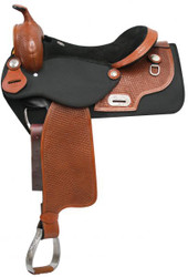 """16"""" Double T Cordura Saddle with Basket Tooled Leather Accents. *Full QH Bars*"""
