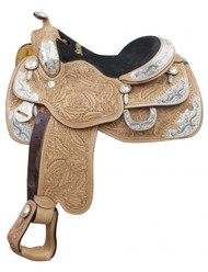 "16"" Showman ® Argentina cow leather show saddle with oak leaf tooling and engraved silver plates."