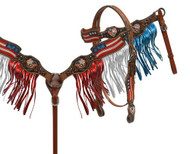 Showman® Painted American Flag headstall and breast collar set with fringe
