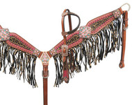 Showman® Bejeweled metallic leopard print headstall and breast collar set
