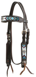 Showman ® Dark chocolate Argentina cow leather headstall with beaded inlays.